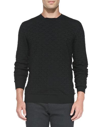 Textured Lightweight Wool Sweater, Black