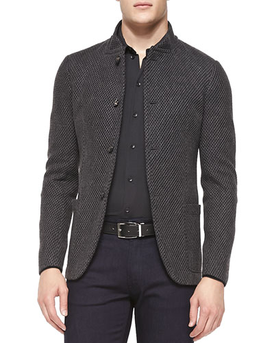 Diamond-Jacquard Four-Button Blazer