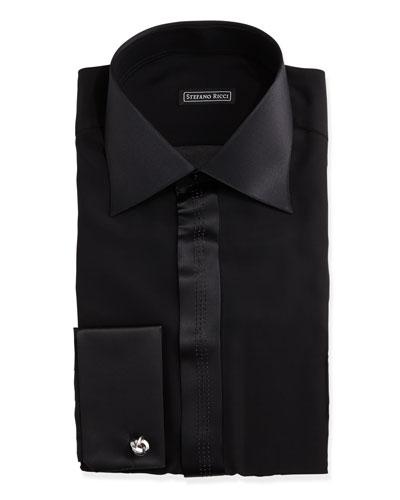 Satin-Trimmed Tuxedo Shirt, Black