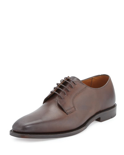 Leather Lace-Up Derby, Dark Brown