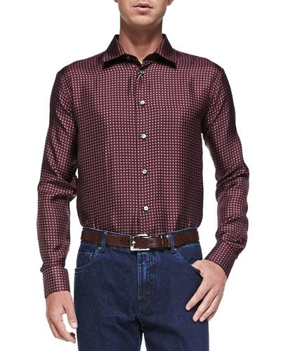 Mini-Box-Print Silk Shirt, Pink