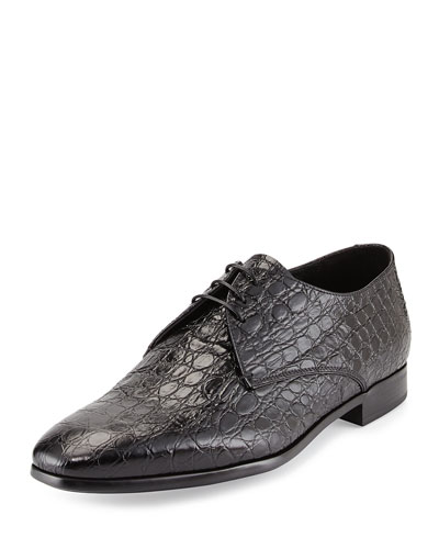 Embossed-Calfskin Lace-Up, Black