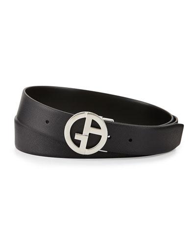 Reversible Leather GA Belt, Black