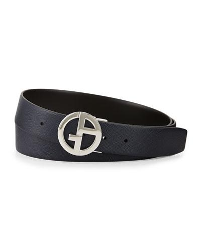 Reversible Leather GA Belt, Cobalt/Black