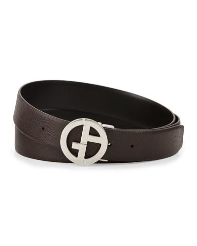 Reversible Leather GA Belt, Espresso/Black