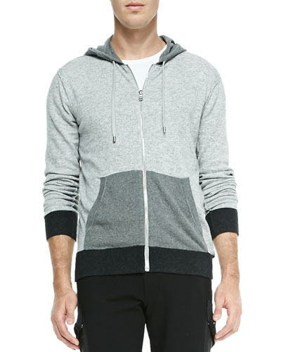 Colorblock Full-Zip Hooded Sweater, Dark Gray