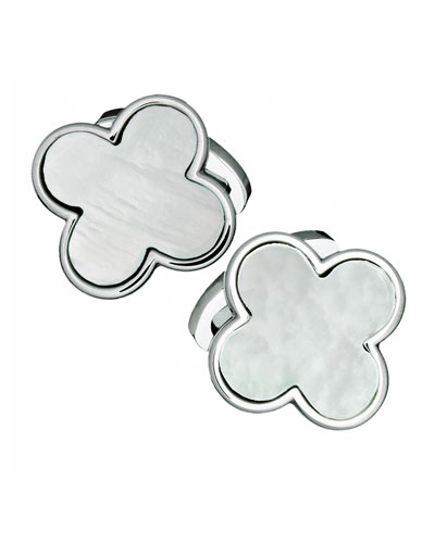 Mother-of-Pearl Clover Cuff Links