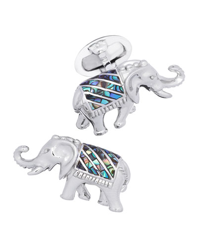 Abalone-Inlay Indian Elephant Cuff Links