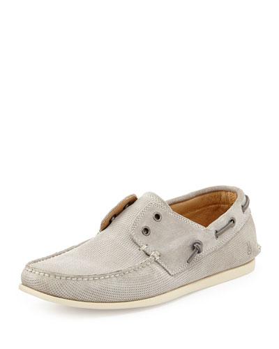 Schooner Suede Boat Shoe, Stone