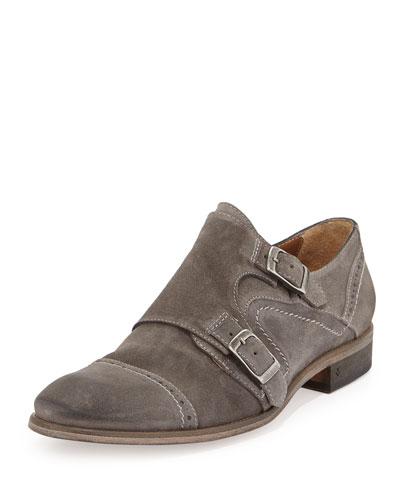 Suede Double-Monk Shoe, Stone