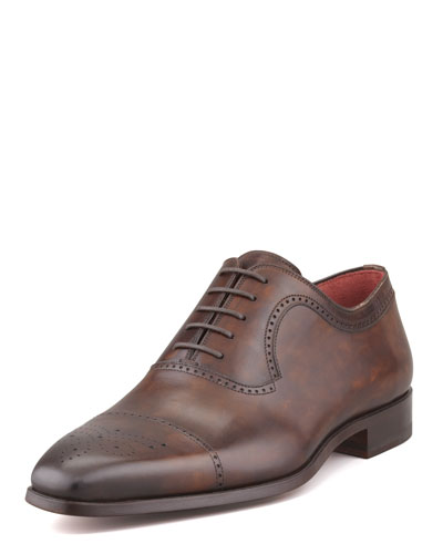 Perforated Cap-Toe Oxford, Brown