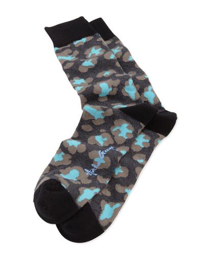 Leopard-Print Men's Socks, Black