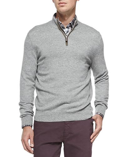 Cashmere/Silk Pique Sweater, Dark Gray