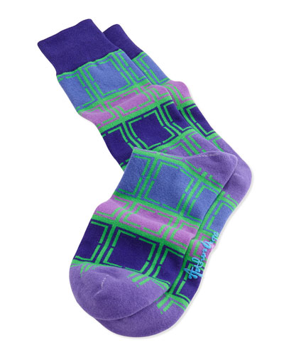 Men's Rectangle-Pattern Knit Socks, Green