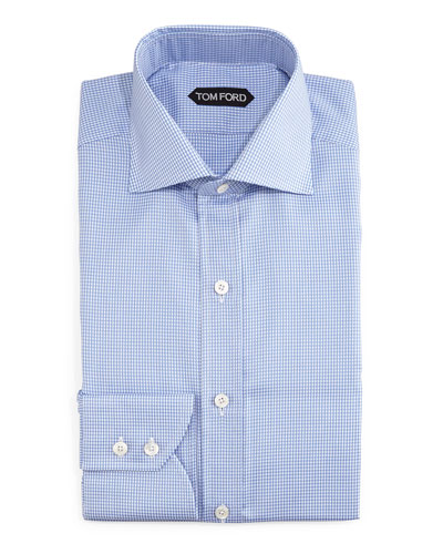 Houndstooth Button-Down Dress Shirt, Blue/White