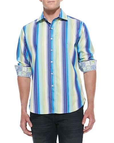 Como Striped Sport Shirt, Blue