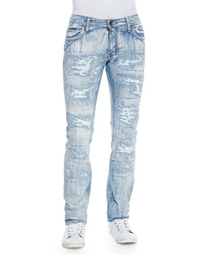 Bleached Shredded Ice Studded Denim Jeans