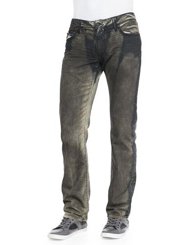 Long-Flap Graffito Denim Jeans, Olive