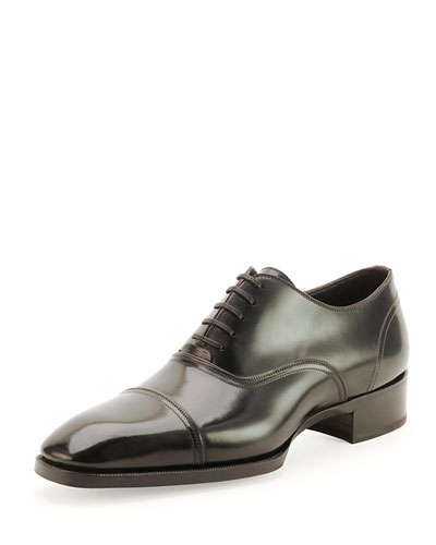 Gianni Cap-Toe Lace-Up Shoe, Black