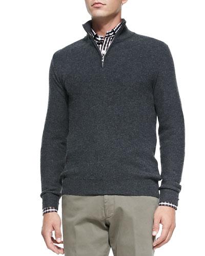 Honeycomb-Knit 1/2-Zip Sweater