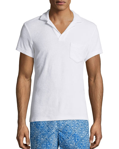 Terry Towel Polo with Pocket, White