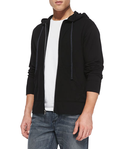 Cotton-Knit Zip Hoodie, Black