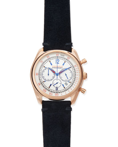 Vintage 42mm Chronograph Watch, Rose Gold