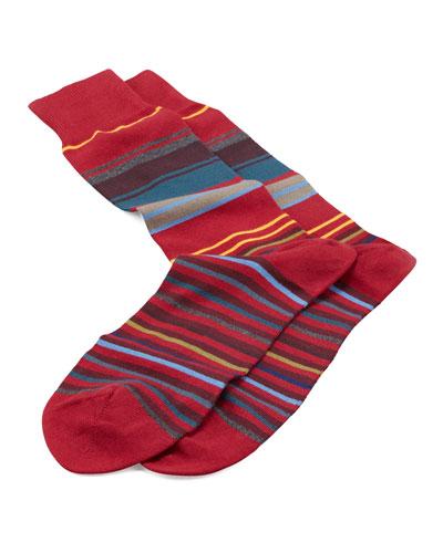 Neon Striped Socks, Red