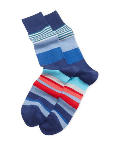 Varied Striped Socks, Blue
