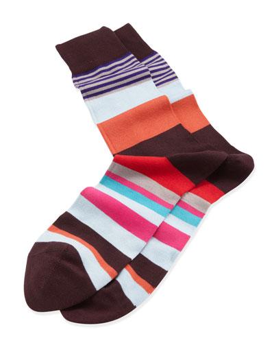 Varied Striped Socks, Orange