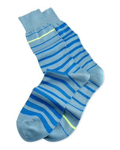 Neon Stripe Socks, Light Blue