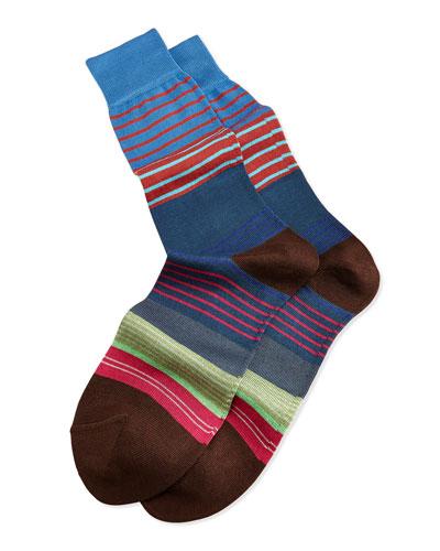 Mini-Multi Striped Socks, Navy