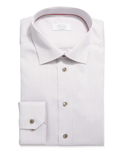 Contemporary-Fit Grid Check Dress Shirt, Tan on White
