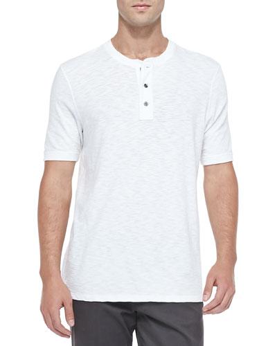 Short-Sleeve Slub Henley, White