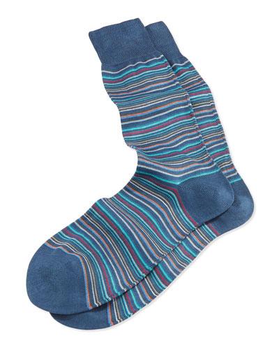 Mini-Multi-Stripe Socks, Navy