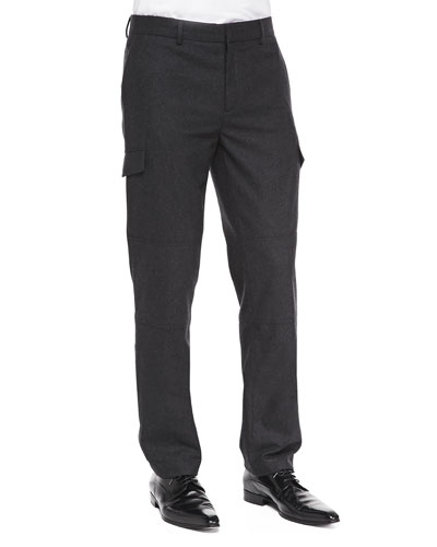 Slim Wool-Blend Cargo Pants, Charcoal