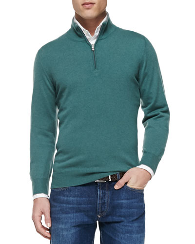 2-Ply Cashmere Half-Zip Sweater, Green
