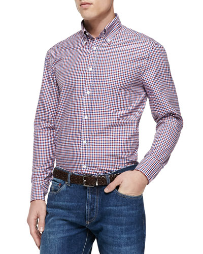 Check Woven Shirt, Red