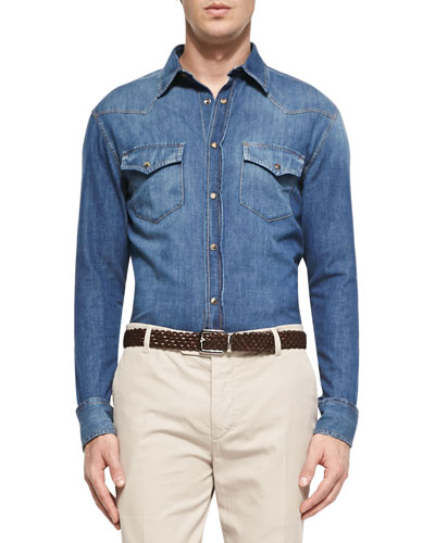 Denim Western Shirt, Indigo