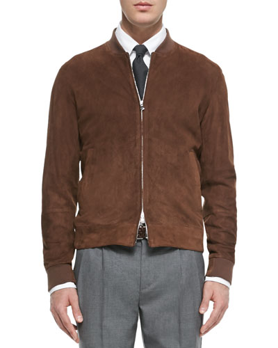 Perforated Suede Bomber Jacket, Brown