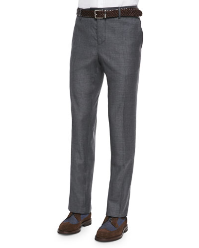 Flat-Front Wool Trousers, Dark Gray