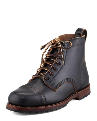 Monroe USA Leather Cap-Toe Ankle-Boot, Black