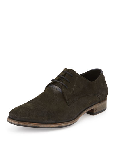 Brushed Suede Dylan Cap-Toe Lace-Up, Gray