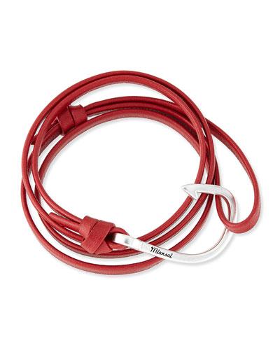 Hook Leather Bracelet, Red