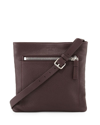 Grain Leather Messenger Bag, Red