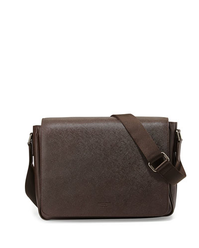 Saffiano Leather Messenger Bag, Brown