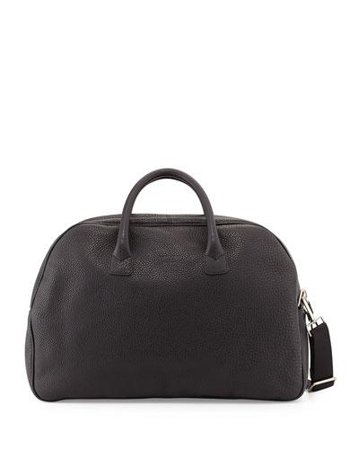 Grain Leather Duffel Bag, Black