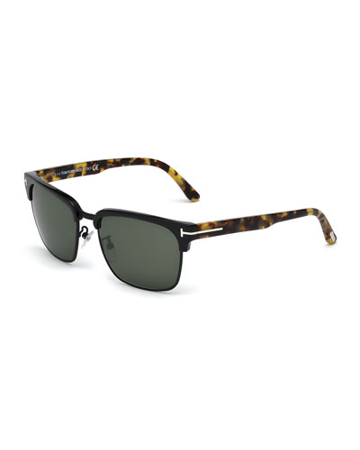 River Square Sunglasses, Black/Tortoise