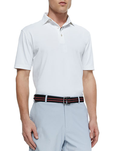 Basic Short-Sleeve Mesh Polo Shirt, White