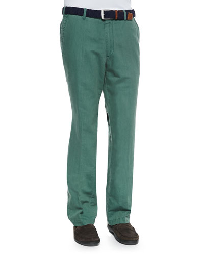 Linen Double-Faced Pants, Green